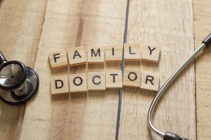 Medical and Health Care Concept, Family Doctor. Medical and health care words writing typography lettering concept, Family Doctor stock images