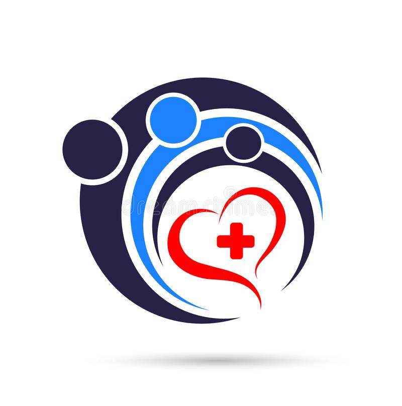 Medical health care cross people heart logo icon on white background. stock illustration