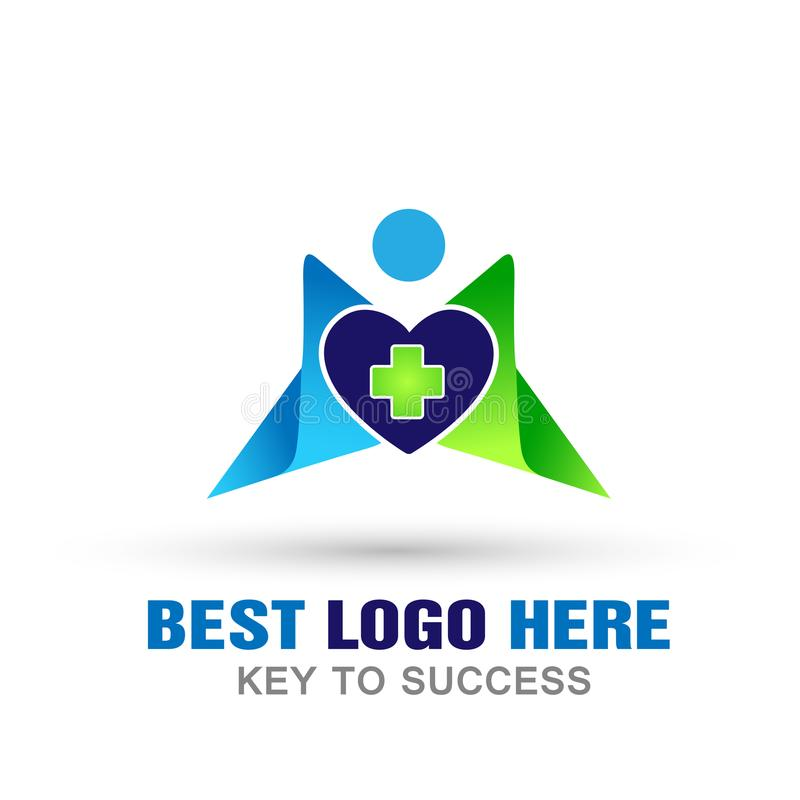 Medical health care heart cross people logo icon on white background royalty free illustration