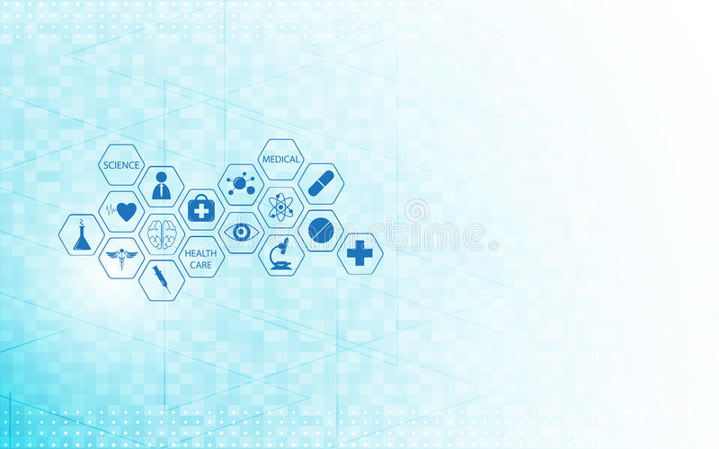 Medical health care icon design on digital technologies innovation concept background stock illustration