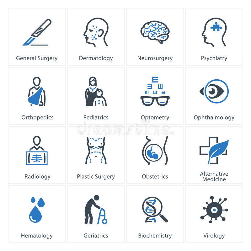 Free Medical & Health Care Icons Set 2 - Specialties Royalty Free Stock Images - 46218459