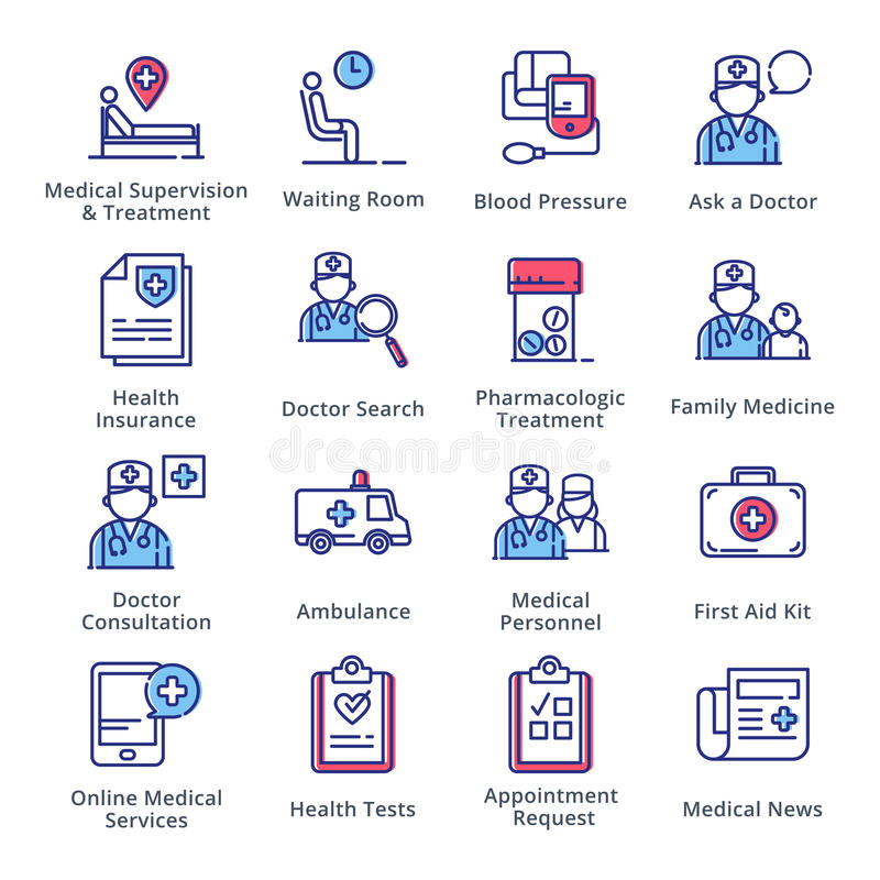 Medical & Health Care Icons Set 2 - Outline Series stock illustration