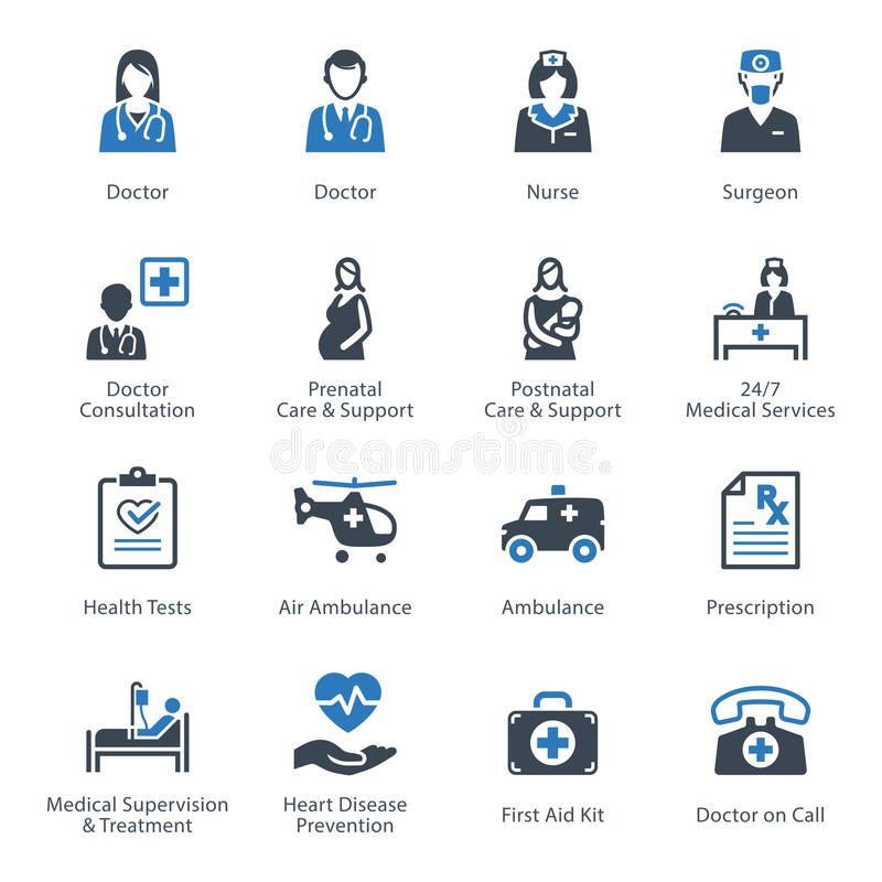 Medical & Health Care Icons Set 1 - Services stock illustration
