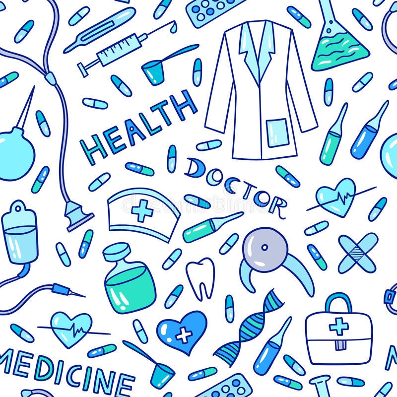 Medical and health care pattern. Health care and medicine seamless pattern. Vector illustration of medical supplies and pharmacy icons stock illustration
