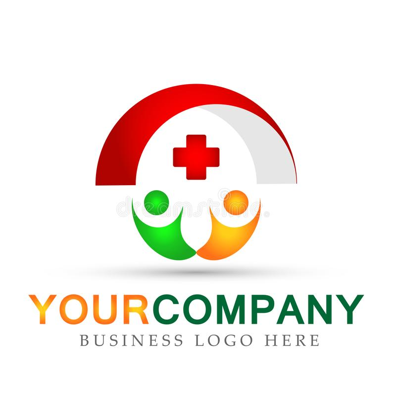 Medical Health care people red cross logo icons symbol logo design on white background. In ai10 illustrations for health care company stock illustration
