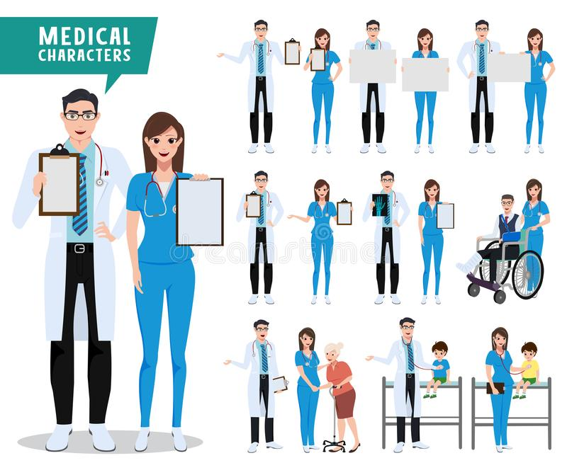 Medical and health care vector character set. Doctor, nurse and pediatrician characters holding empty white board. With patients isolated in white. Vector royalty free illustration