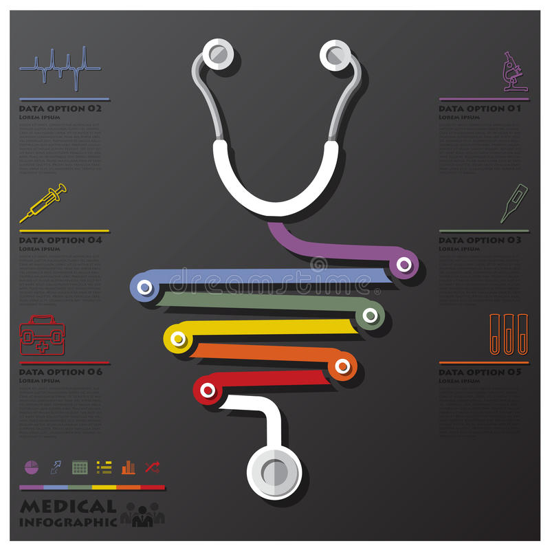 Medical And Health Connection Timeline Business Infographic royalty free illustration