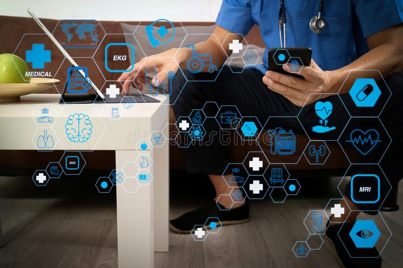 Medical and Health context,doctor hand working with smart phone,digital tablet computer,stethoscope,sitting on sofa in living room stock illustration