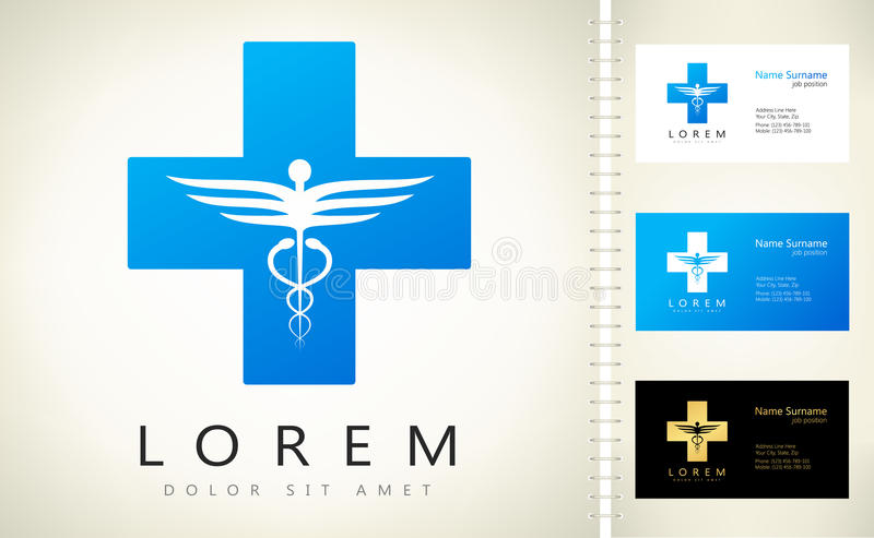 Medical health cross and caduceus medical logo stock illustration