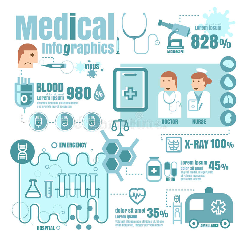 Medical, health and healthcare icons and data elements, infographic vector on white background stock illustration