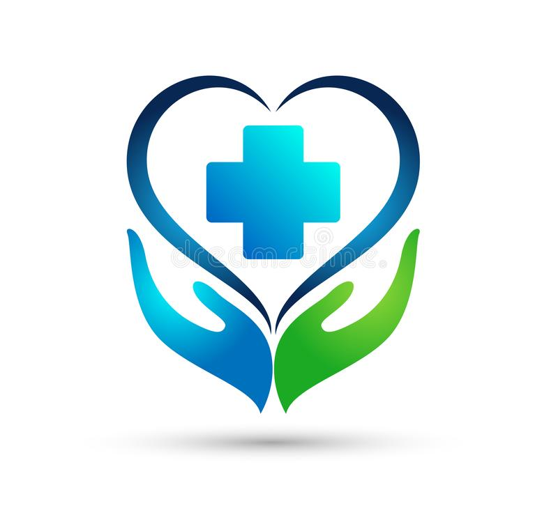 Medical health heart care clinic healthy life care logo design icon on white background. vector illustration