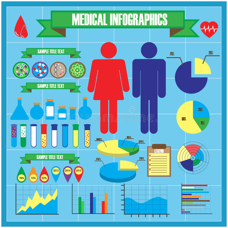 Medical and health icons, infographic elements royalty free illustration