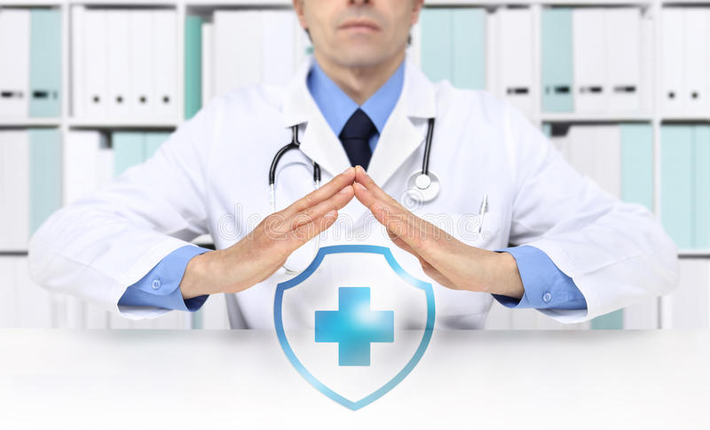 Medical health insurance concept, cross symbol stock photo