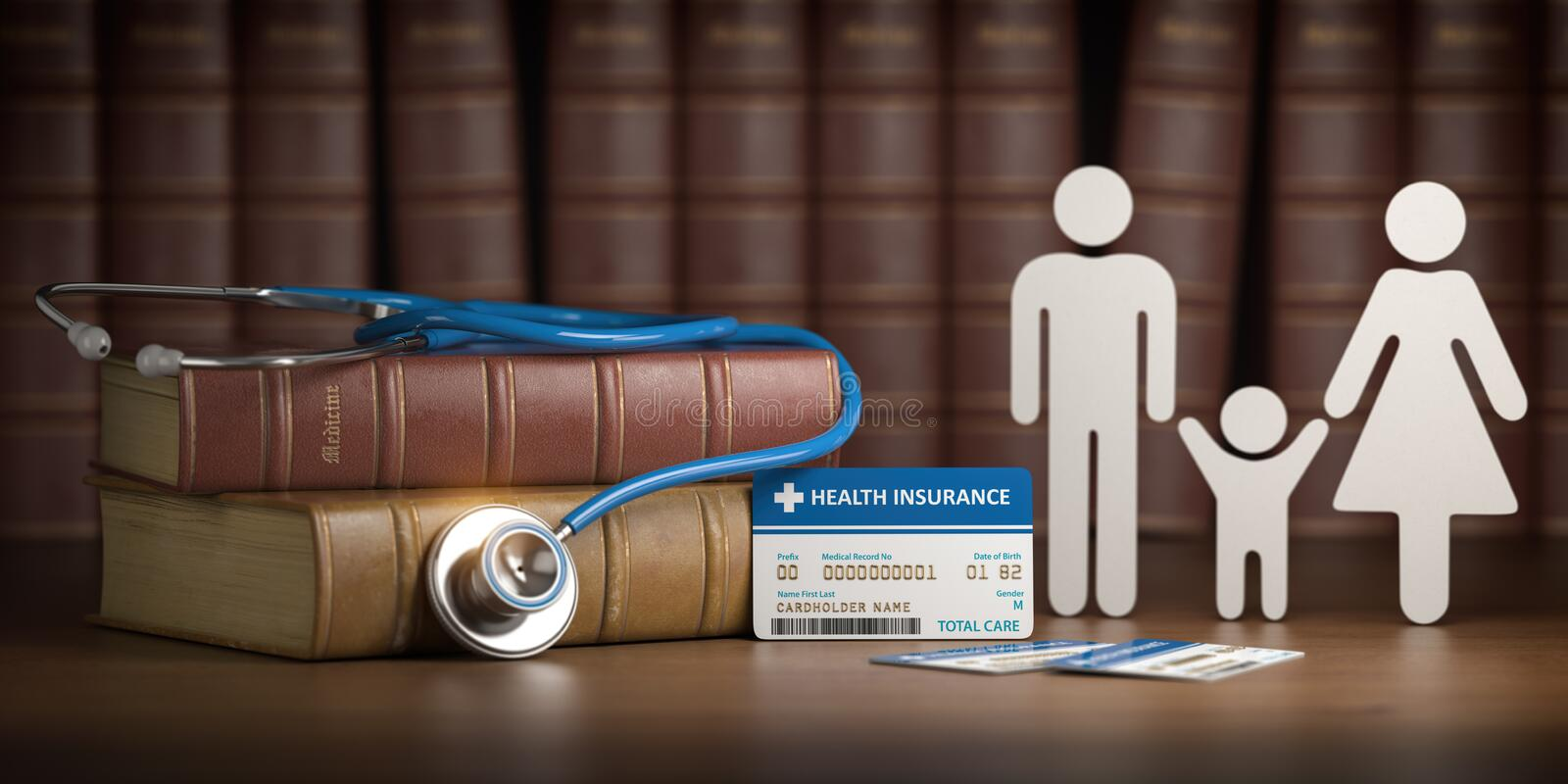 Medical health insurance concept. Family with stethoscope and plastic card royalty free illustration