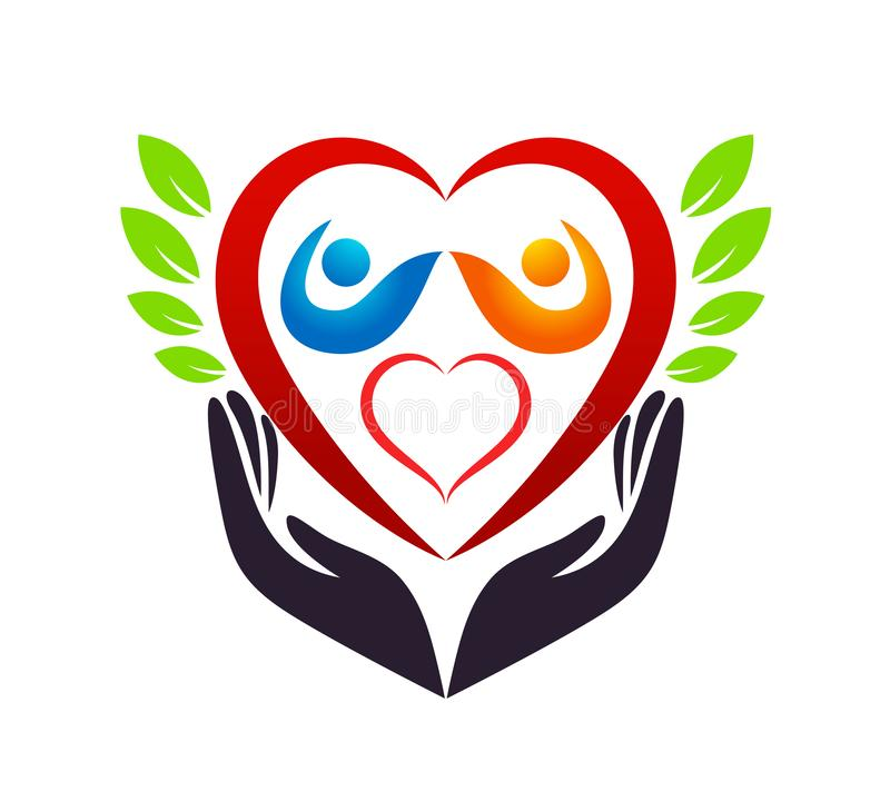 Medical health red heart green leaf care clinic people new healthy life care logo design icon on white background. royalty free illustration