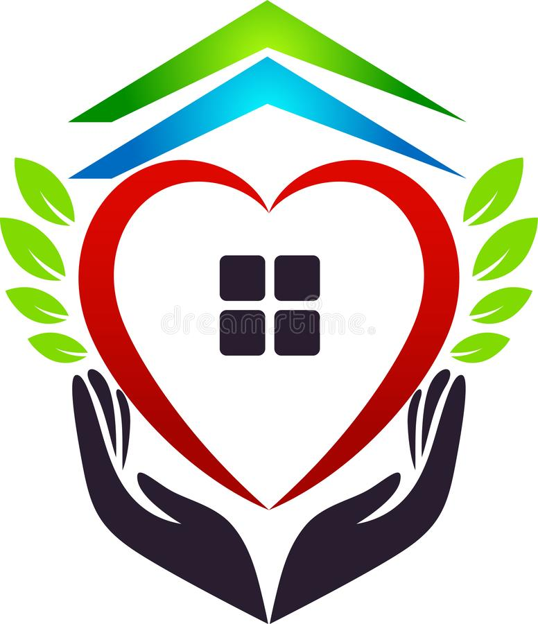 Medical health red heart home house green leaf care clinic people new healthy life care logo design icon on white background. stock illustration