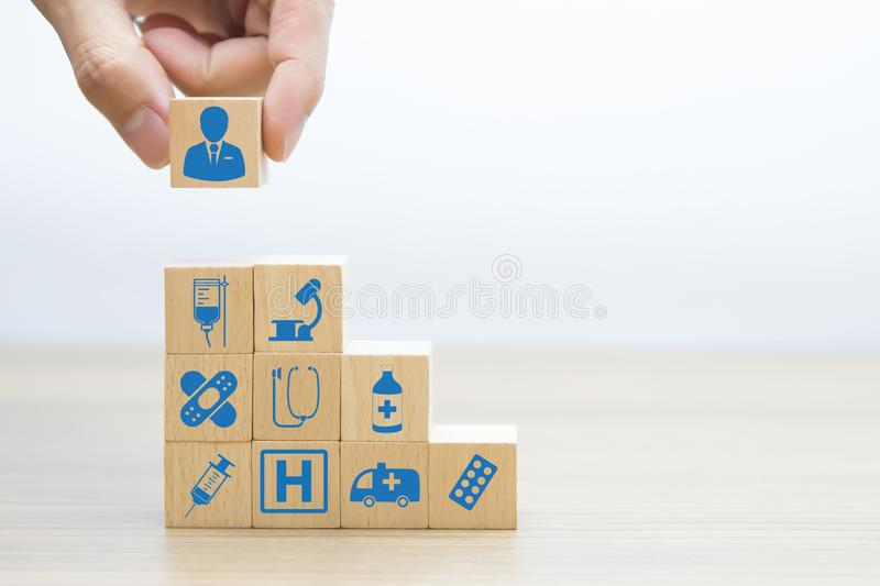 Medical and Health Wood Block Concept royalty free stock photography