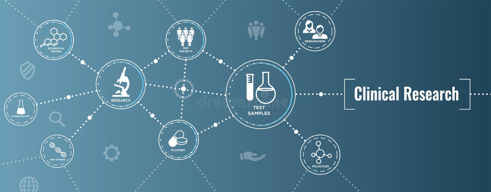 Medical Healthcare Icons with People Charting Disease / Scientific Discovery Web Header Banner. Medical Healthcare Icons w People Charting Disease or Scientific stock illustration
