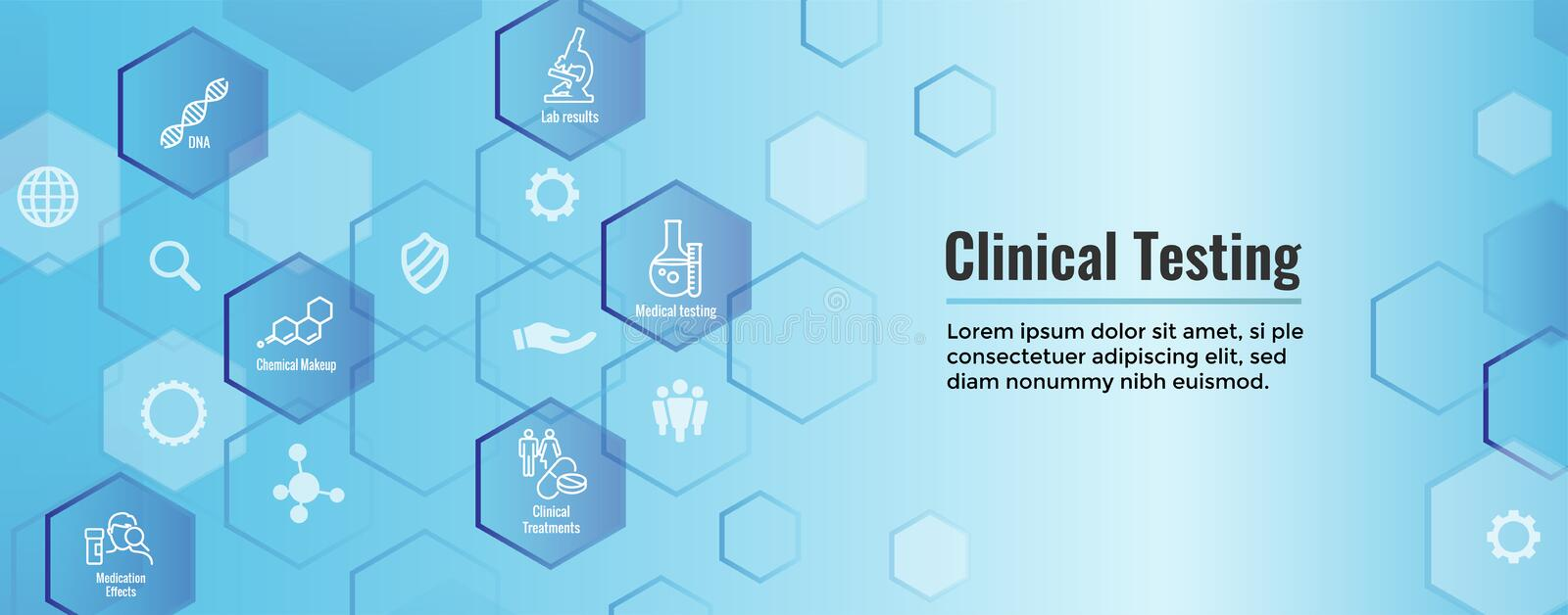Medical Healthcare Icons with People Charting Disease or Scientific Discovery Web Header Banner vector illustration