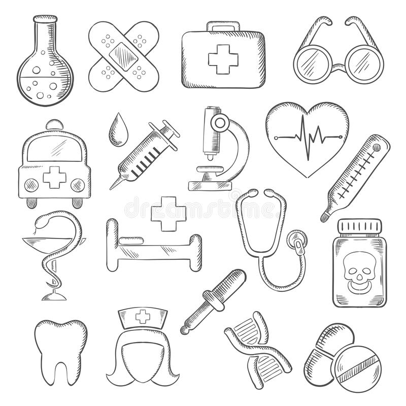 Free Coloring Pages About First Aid: Medical And Healthcare Icons Sketches Stock Vector