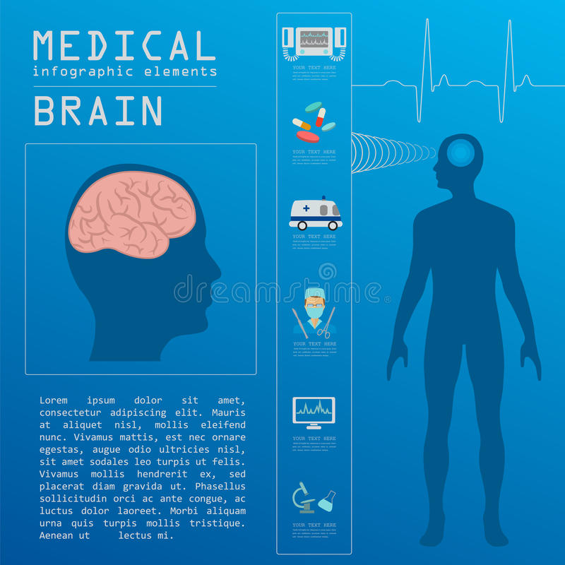 Medical and healthcare infographic, Brain infographics vector illustration