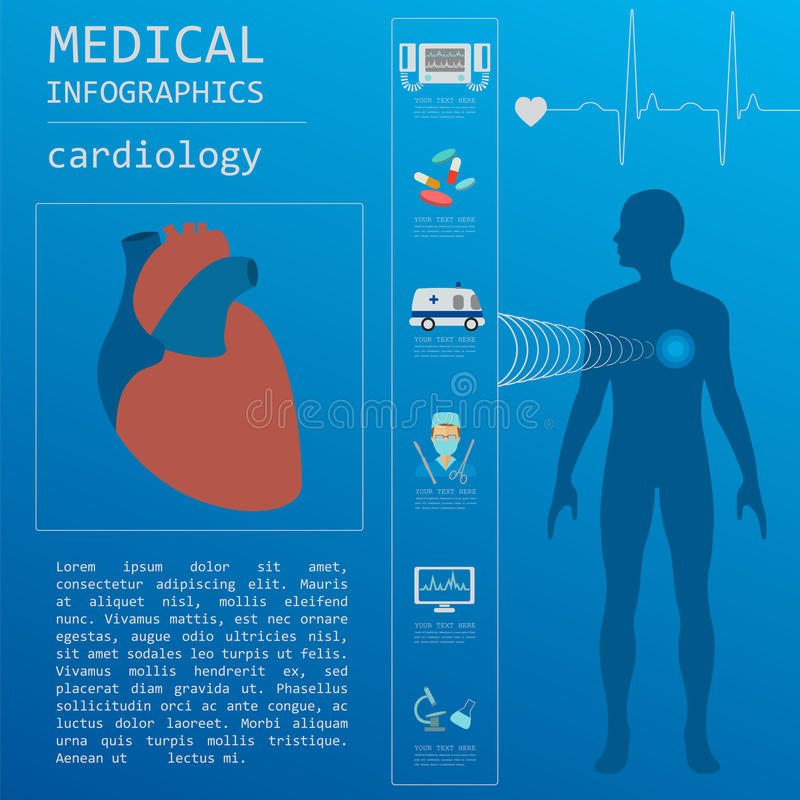 Medical and healthcare infographic, Cardiology infographics. royalty free illustration