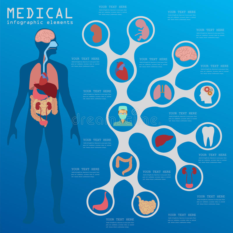 Medical and healthcare infographic, elements for creating infographics stock illustration