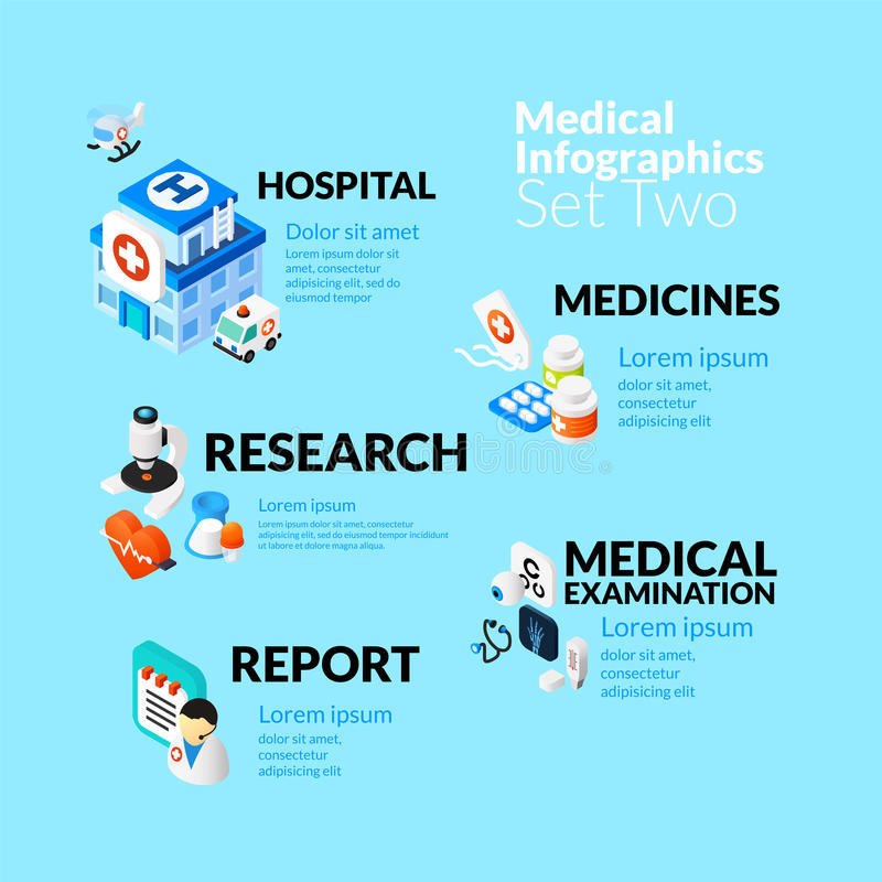 Medical healthcare infographic set with isometric stock illustration