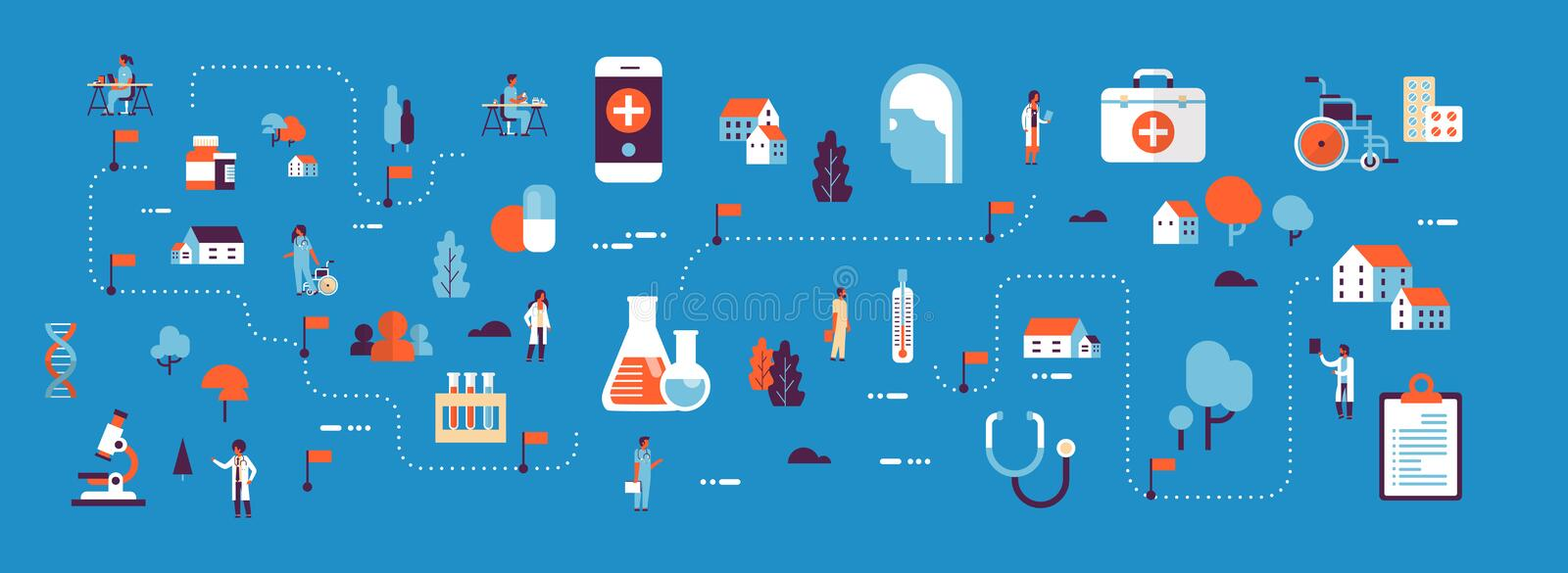 Medical healthcare products medicine isometric map concept laboratory equipment doctors and nurses cartoon character stock illustration