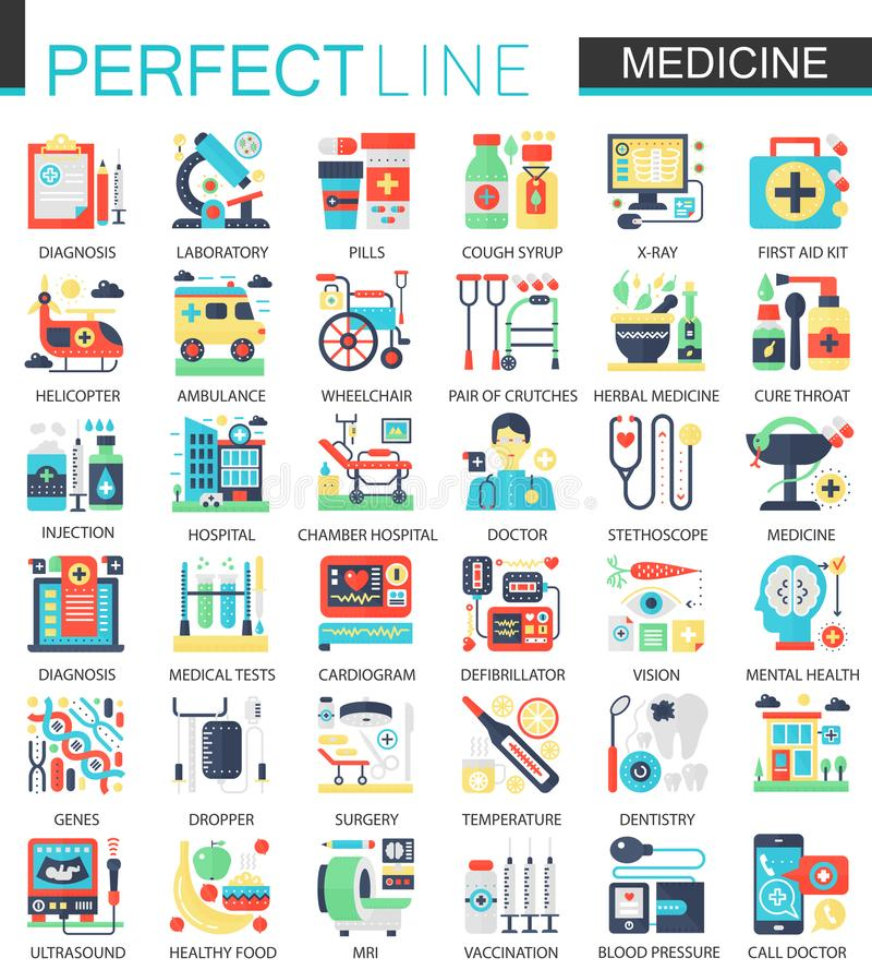 Medical and healthcare vector complex flat icon concept symbols for web infographic design. royalty free illustration
