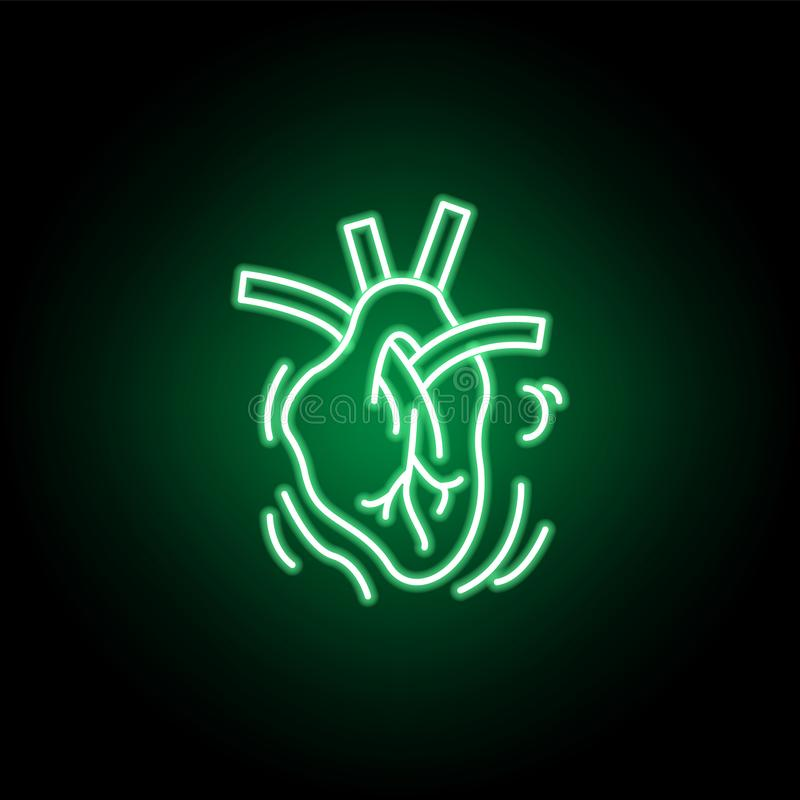 Medical, heart icon in neon style. Element of medicine illustration. Signs and symbols icon can be used for web, logo, mobile app stock illustration