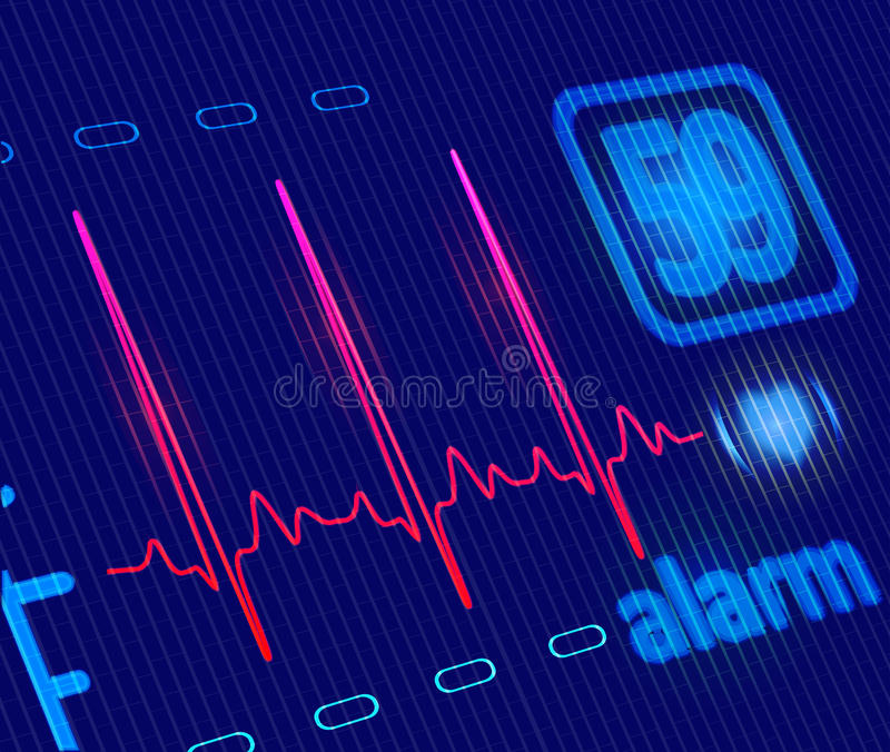 Medical Heart Monitor with ECG wave. LCD Medical Heart Monitor with ECG wave. Close-up detailed illustration royalty free illustration
