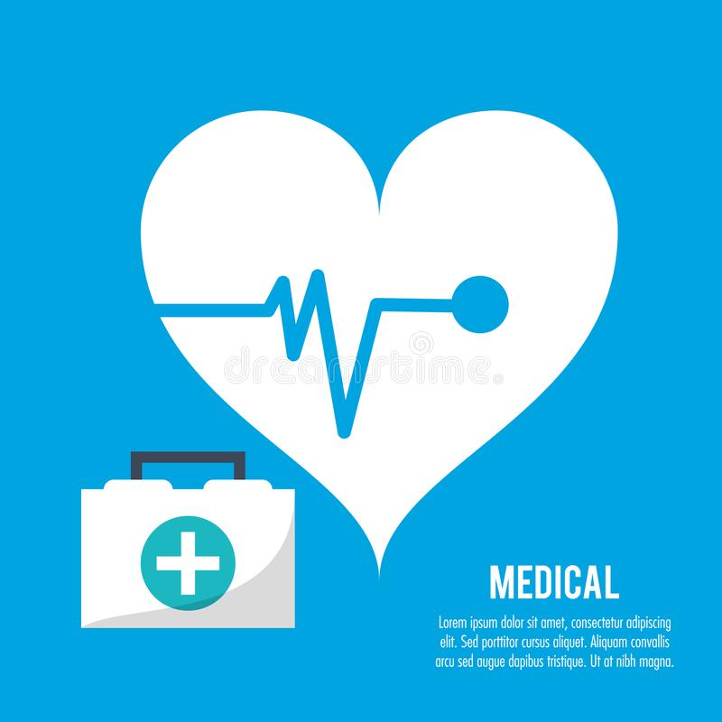 Medical heartbeat kit first aid health care stock illustration