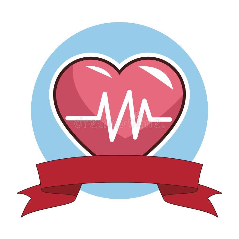 Medical heartbeat symbol. Round emblem blank ribbon banner vector illustration graphic design royalty free illustration