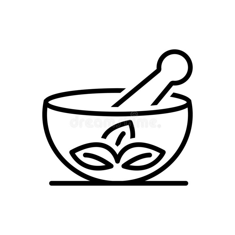 Black line icon for Medical Herbs, mortar and pestle. Black line icon for Medical Herbs, ayurveda, homemade, traditionaltherapy,  mortar and pestle royalty free illustration