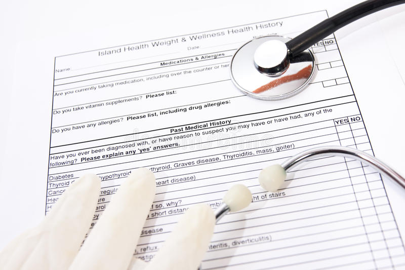 Download Medical history form stock image. Image of paperwork - 28319313