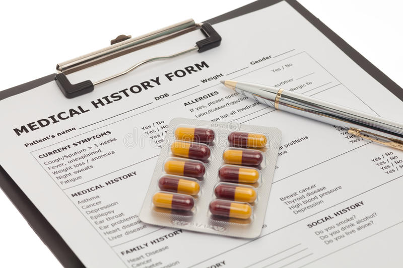 Medical history form stock image