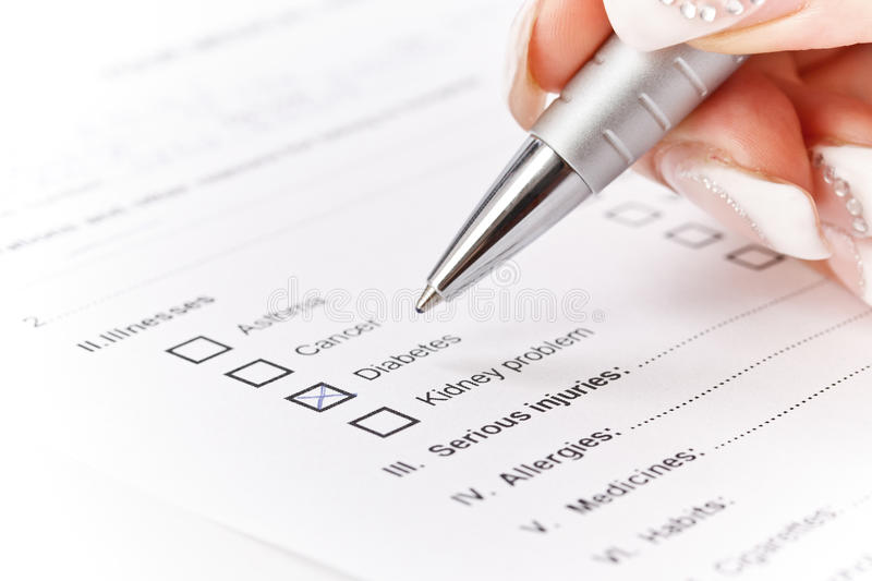 Medical History Questionaire Stock Photo
