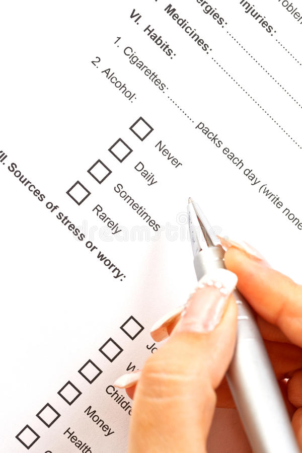Medical history questionnaire royalty free stock images