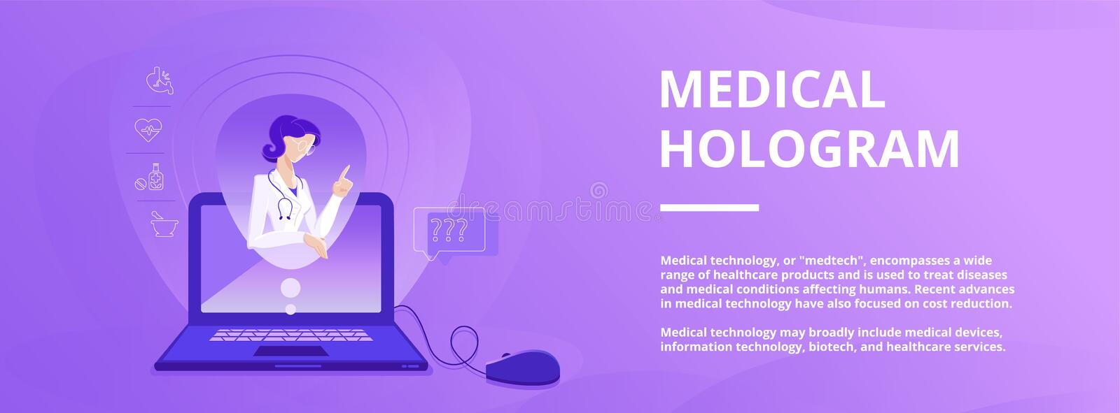 Medical hologram banner template with counseling doctor on the working laptop screen. Colorful vector illustration for web and printing stock illustration