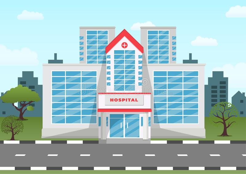 Medical hospital building with city landscape. Vector medical concept illustration in flat style vector illustration