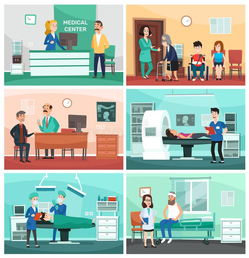 Medical hospital. Clinical care, emergency nurse with patient and hospitals doctor vector cartoon illustration stock illustration