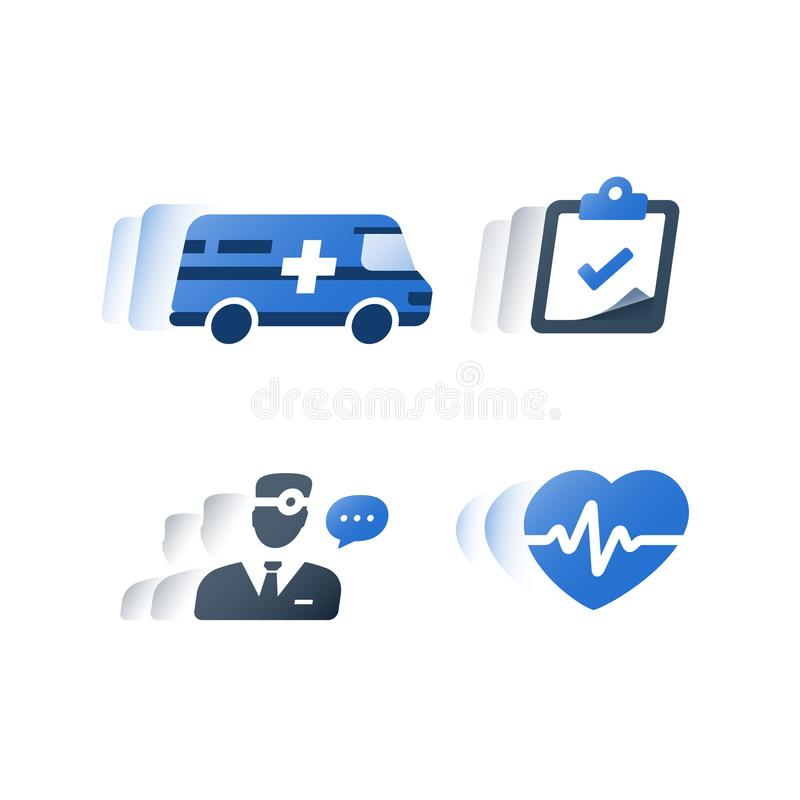 Medical hospital fast services, health care insurance policy, health check up, consult doctor, cardiovascular examination. Health care insurance policy, medical vector illustration