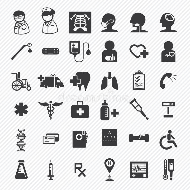 Medical and hospital icons set stock illustration
