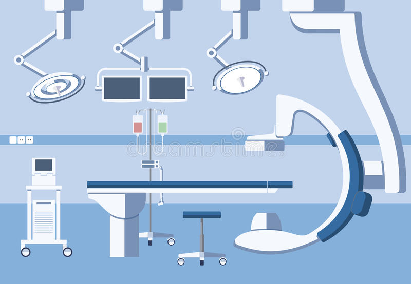 Medical hospital surgery operating room, theater. With equipment in flat vector style. Operation surgical emergency, healthcare and clean, hygiene and table royalty free illustration