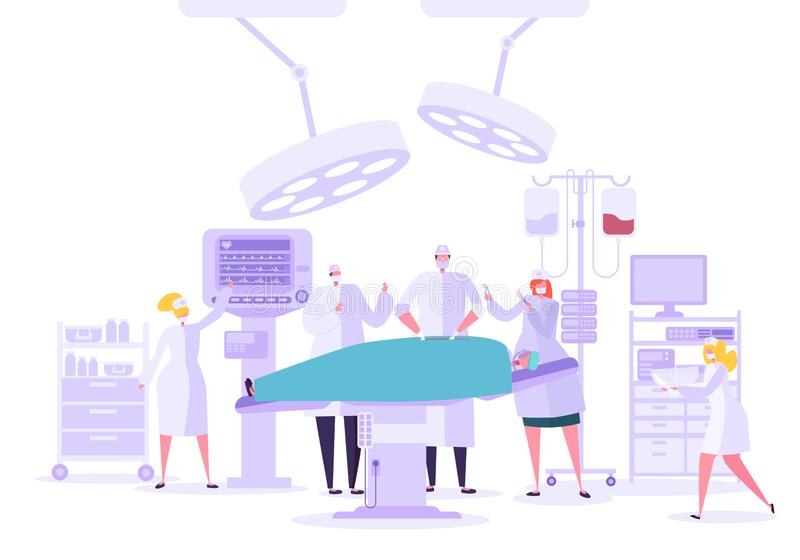 Medical hospital surgery operation operating room. Doctor and Nurse Characters performing surgical operation on Patient. Medical hospital surgery operation in royalty free illustration