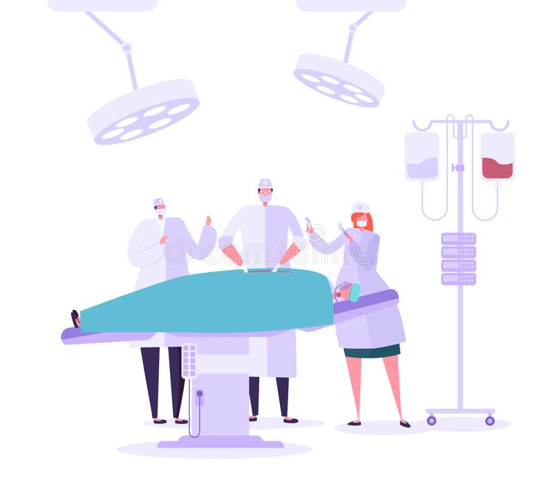 Medical hospital surgery operation operating room. Doctor and Nurse Characters performing surgical operation on Patient royalty free illustration