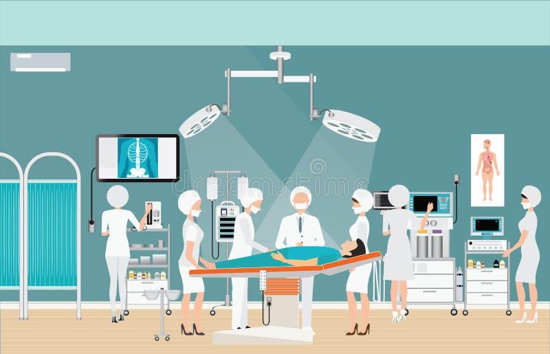 Medical hospital surgery operation room interior. royalty free illustration