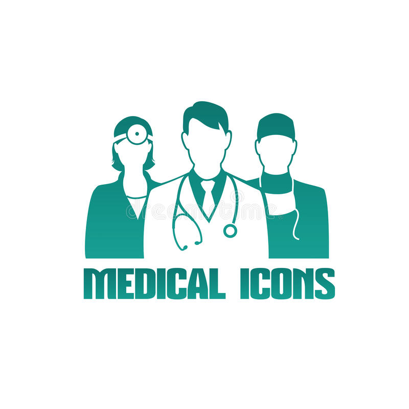 Medical icon with different doctors. Medical icon with 3 different doctors as therapist, surgeon and otolaryngologist