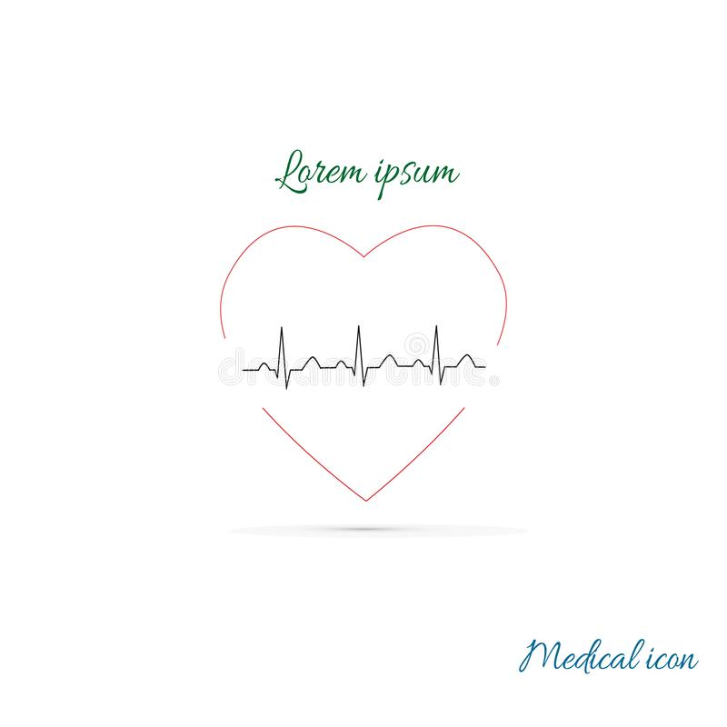 Medical icon, heart cardiology icon. Heart shape with ECG line. Vector illustration royalty free illustration